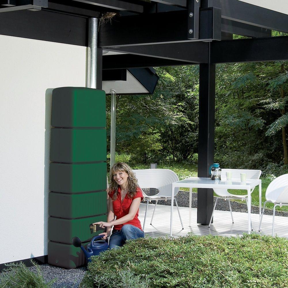 Récupérateur d'eau mural GARANTIA Slim vert 300L