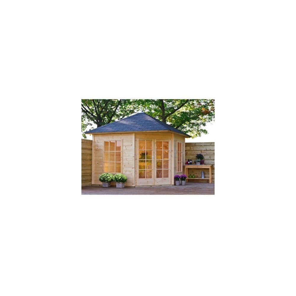 abri de jardin d 39 angle jessica m bois 21 mm avec plancher gamm vert. Black Bedroom Furniture Sets. Home Design Ideas