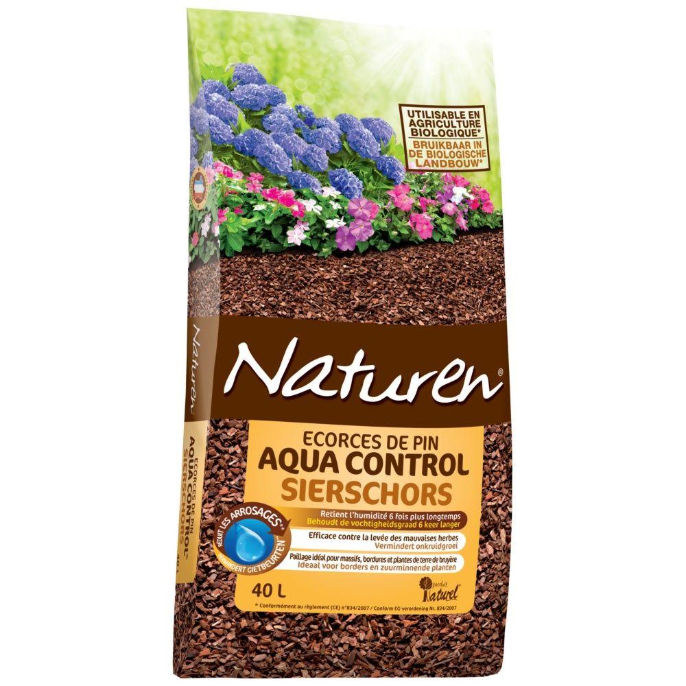 Paillage d 39 corces de pin aquacontrol 40l naturen sac de - Ecorce de bois pour jardin ...