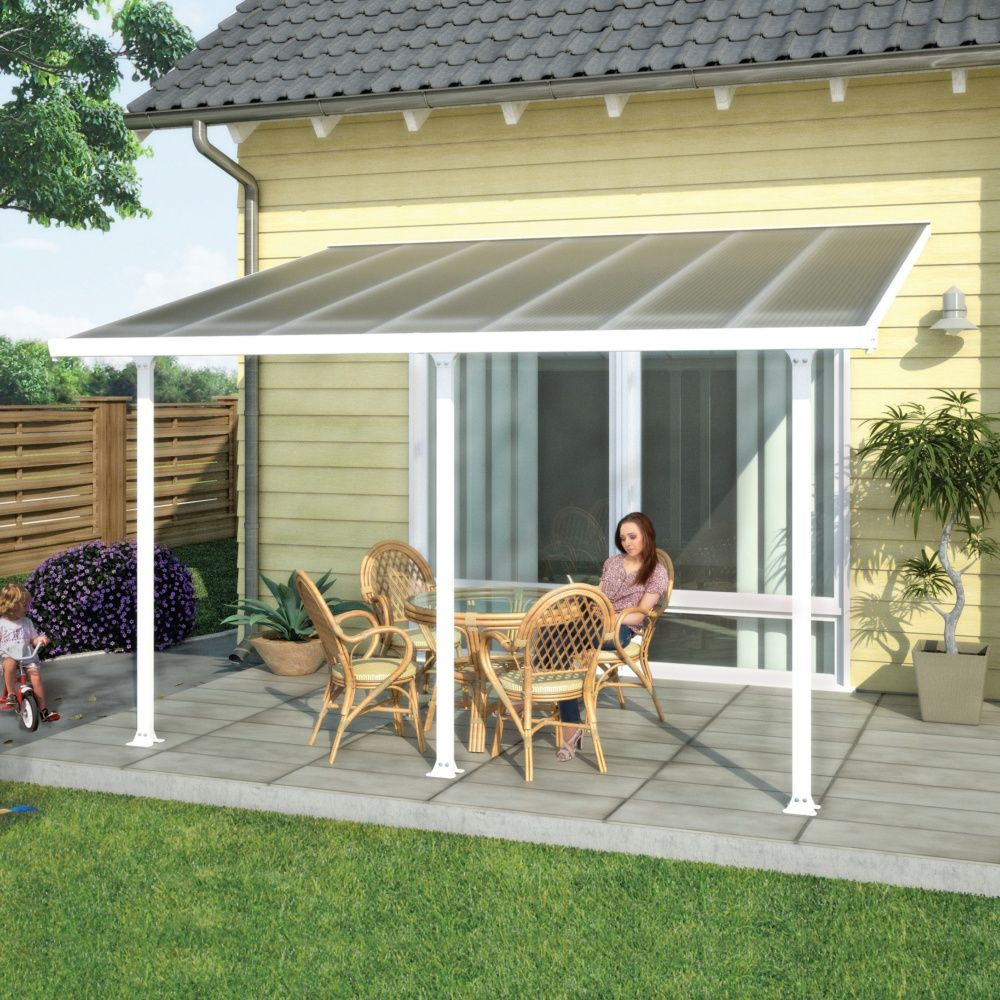 pergola toit terrasse aluminium et polycarbonate 4x3 m blanc colis 309 x 67 x 24 5 cm gamm vert. Black Bedroom Furniture Sets. Home Design Ideas