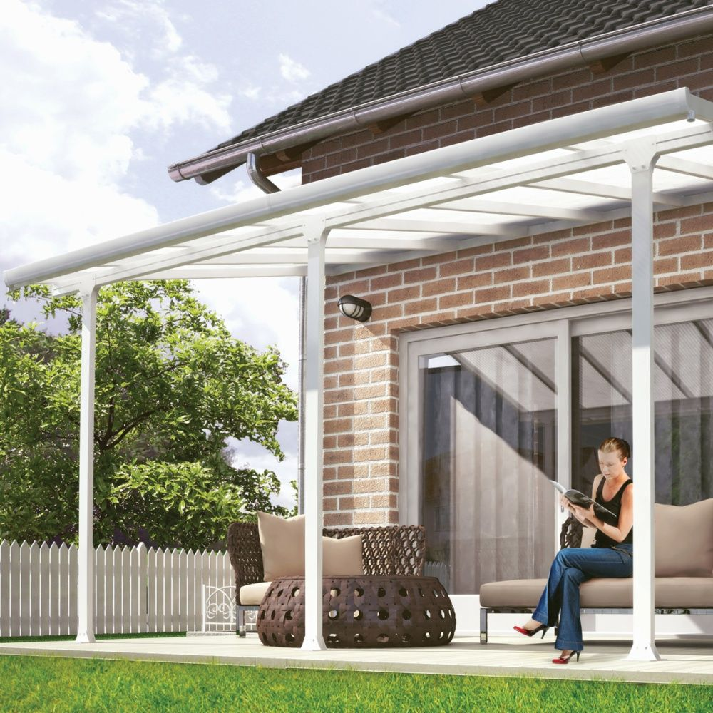 pergola toit terrasse aluminium et polycarbonate 4x3 m. Black Bedroom Furniture Sets. Home Design Ideas