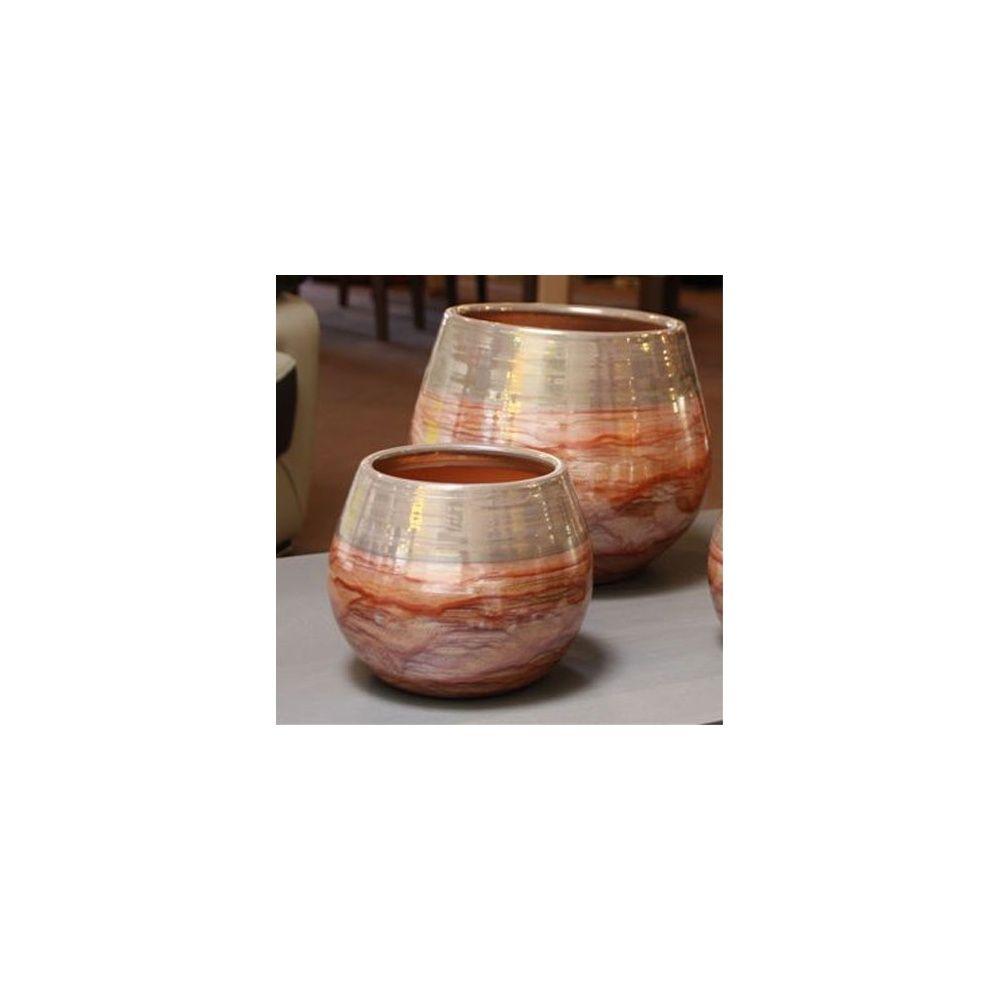 Pot en terre cuite maill e cancanle bois de rose d21 h21 gamm vert - Pot en terre cuite emaillee ...