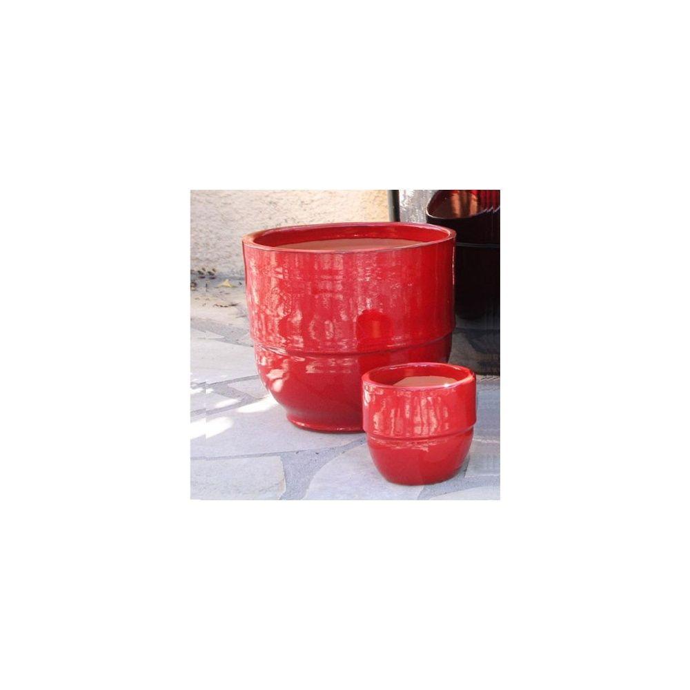 Pot en terre cuite maill e rebord coquelicot d52 h50 gamm vert - Pot en terre cuite emaillee ...