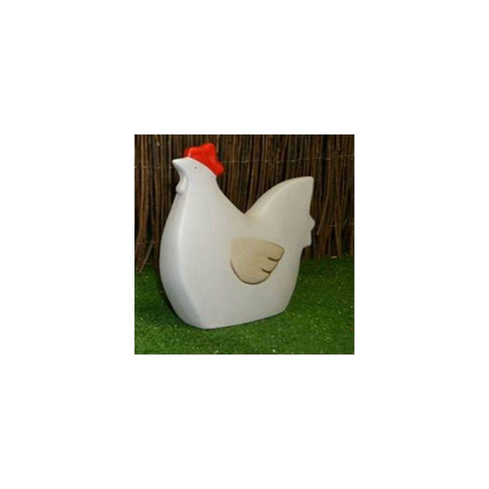 Poule décorative en ceramique - Blanc - H 23 cm - Natura Déco ...