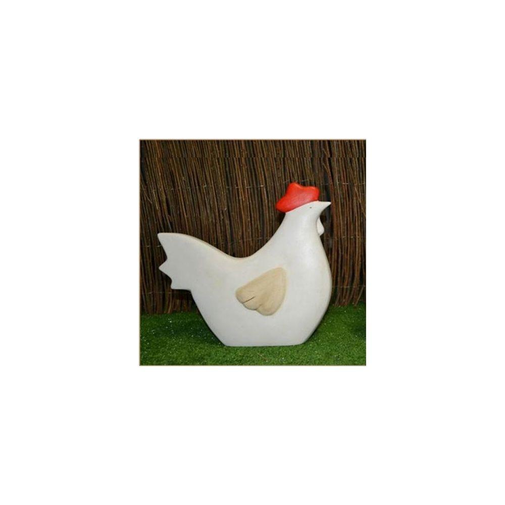 Poule Decorative En Ceramique Blanc H 30 Cm Natura Deco Carton