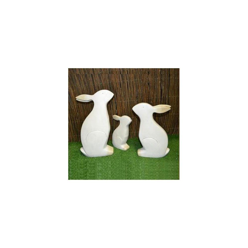 Lapin d coratif en c ramique blanc h27 cm natura for Gravillon decoratif blanc