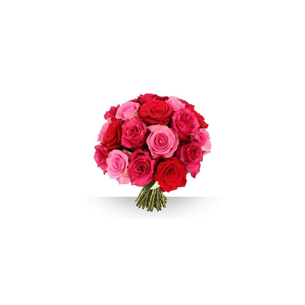 bouquet de 21 roses roses gros boutons boite cadeau gamm vert. Black Bedroom Furniture Sets. Home Design Ideas
