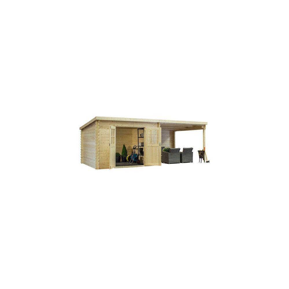 abri de jardin monopente 8 18 m2 bois 28 mm avec auvent de 9 m2 gamm vert. Black Bedroom Furniture Sets. Home Design Ideas