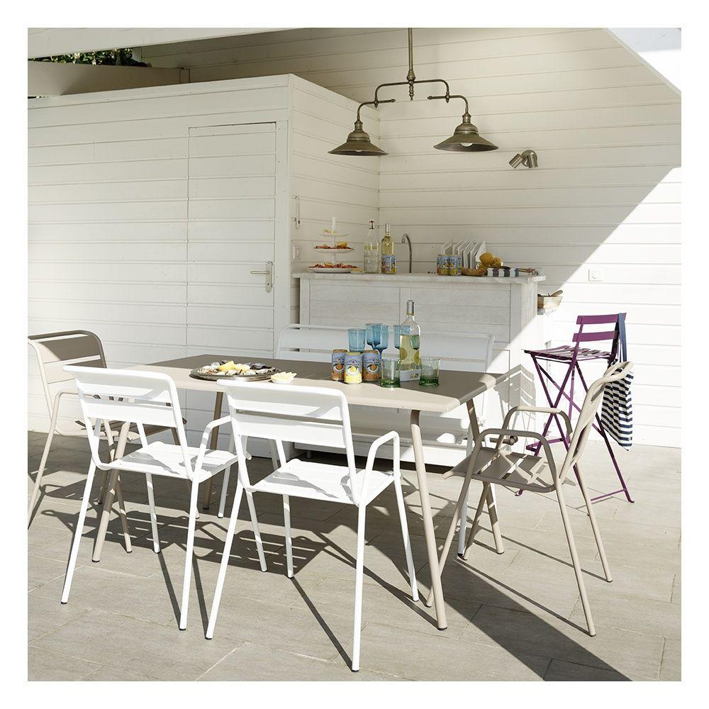 Salon de jardin Fermob Monceau   Table l146 L80 cm + 4 Chaises + 1 Banc ... 6c9a40167861