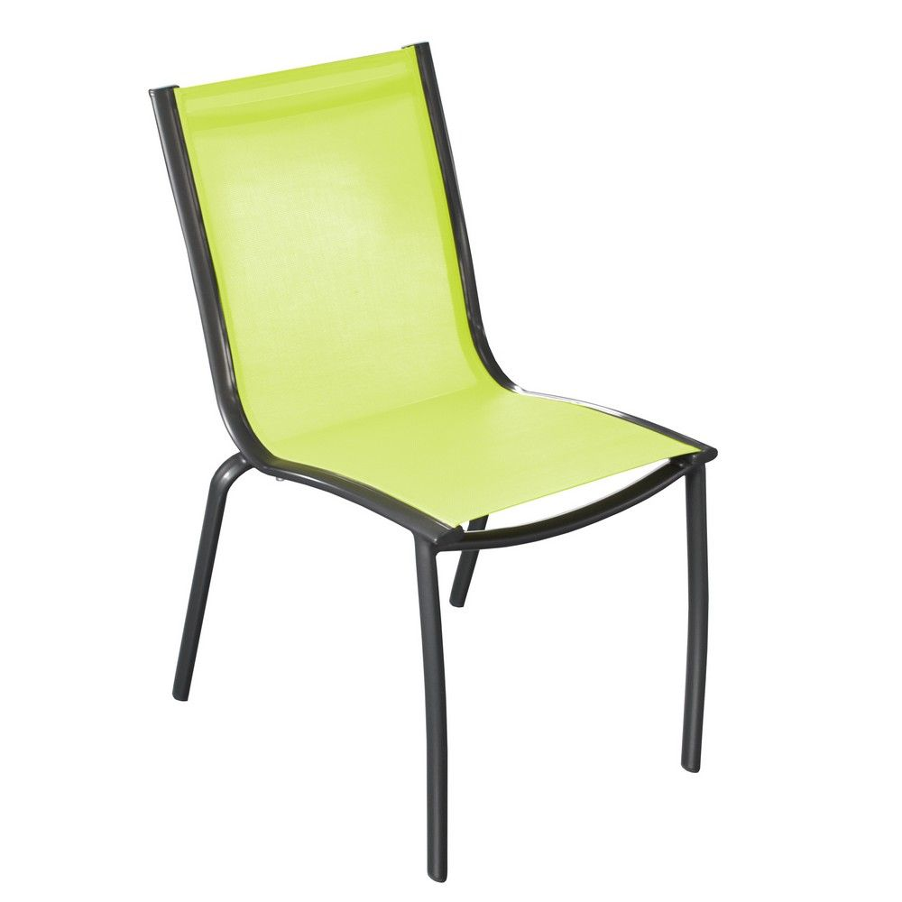Lot de 2 chaises de jardin empilable Linea en aluminium et textilène – Royal Lime