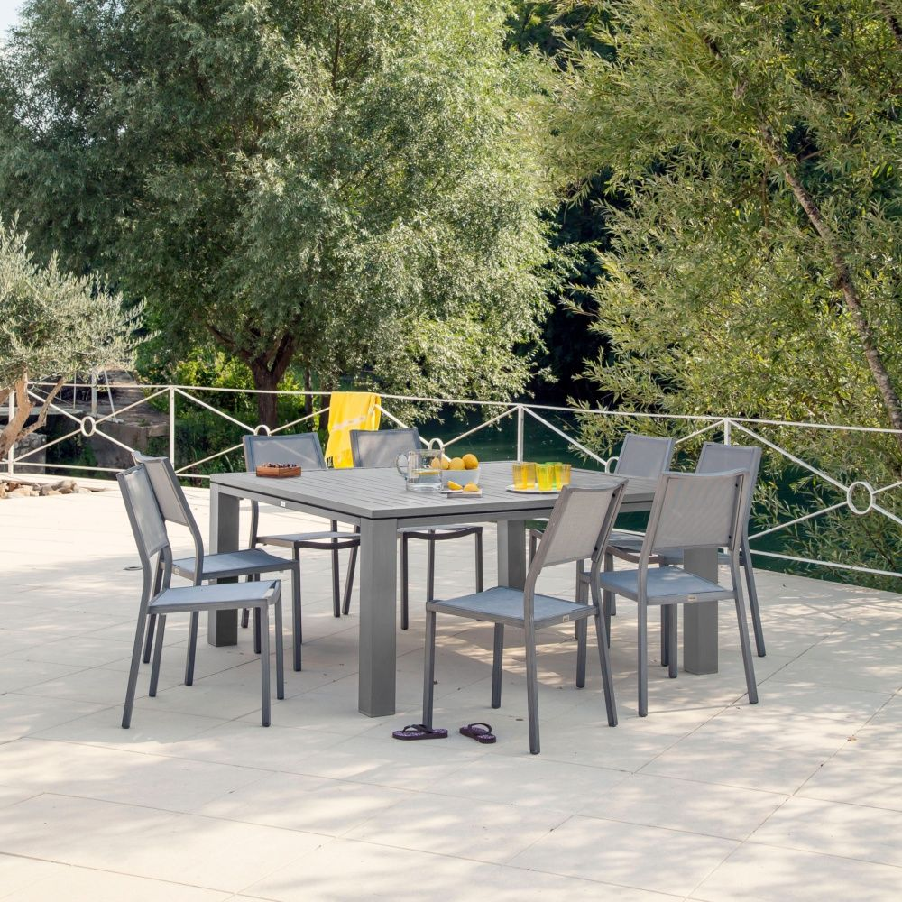 Salon de jardin : table Fiero 160 gris anthracite + 4 chaises ...