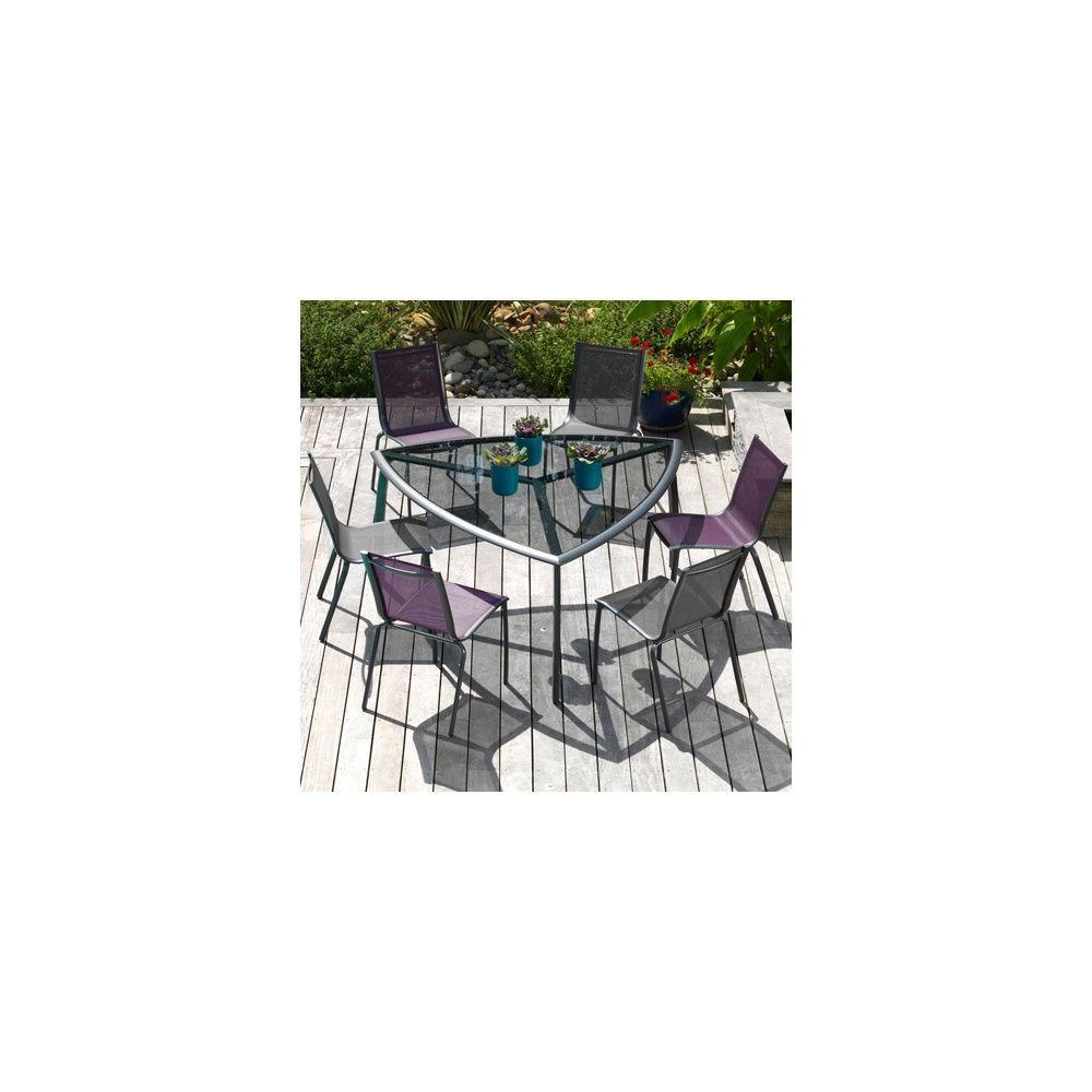 Salon de jardin : table Malaga grise + 4 chaises Linea grises + 2 ...
