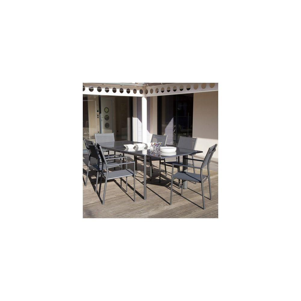 Salon de jardin : table Messina 160/230 cm + 6 fauteuils Sartene ...