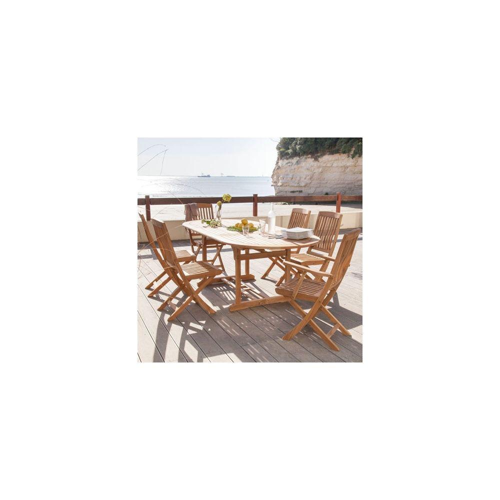 Salon de jardin : table ovale Hampton 160/220 cm bois + 4 chaises ...