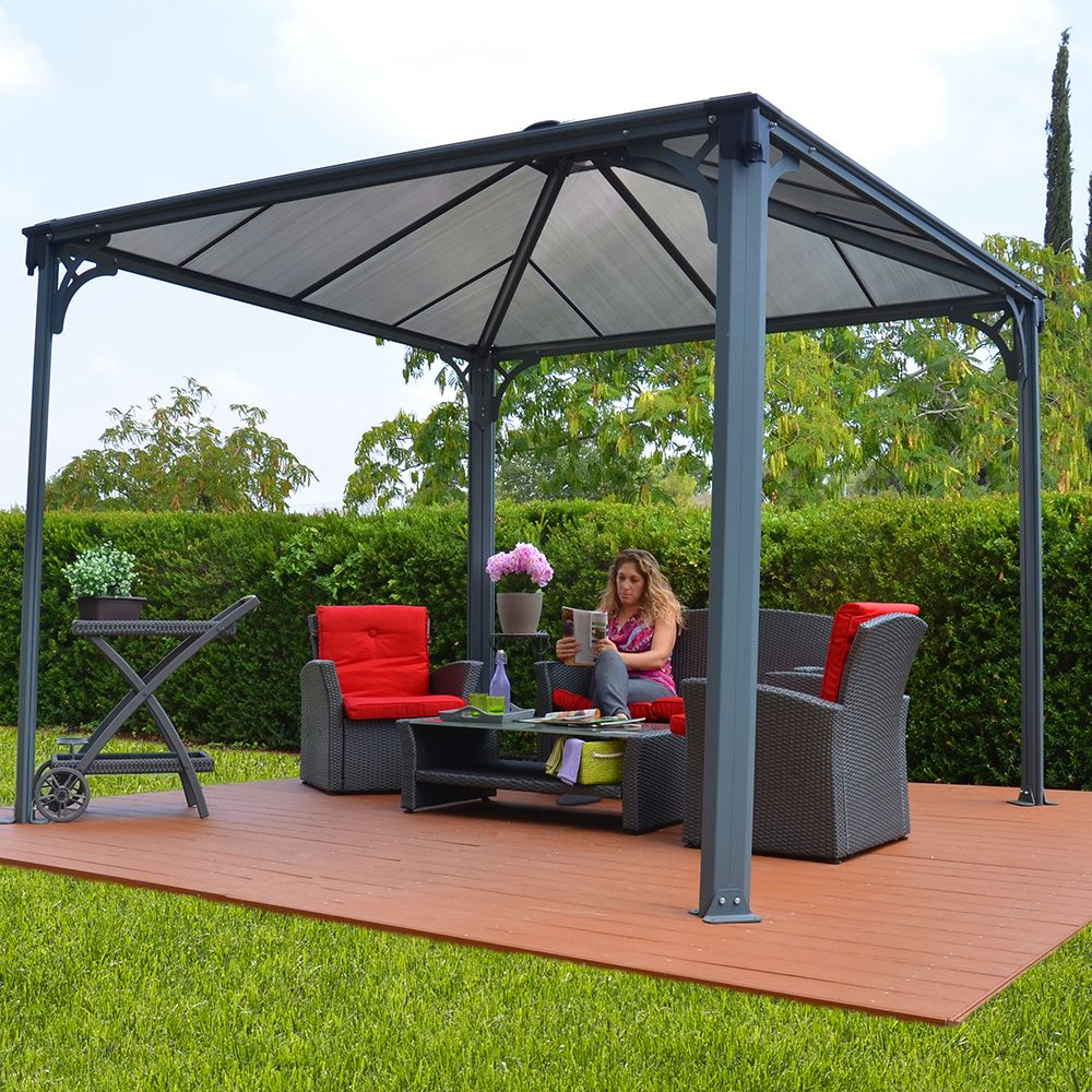 tonnelle autoportante couv 39 terrasse aluminium 3x3 m l287 x. Black Bedroom Furniture Sets. Home Design Ideas
