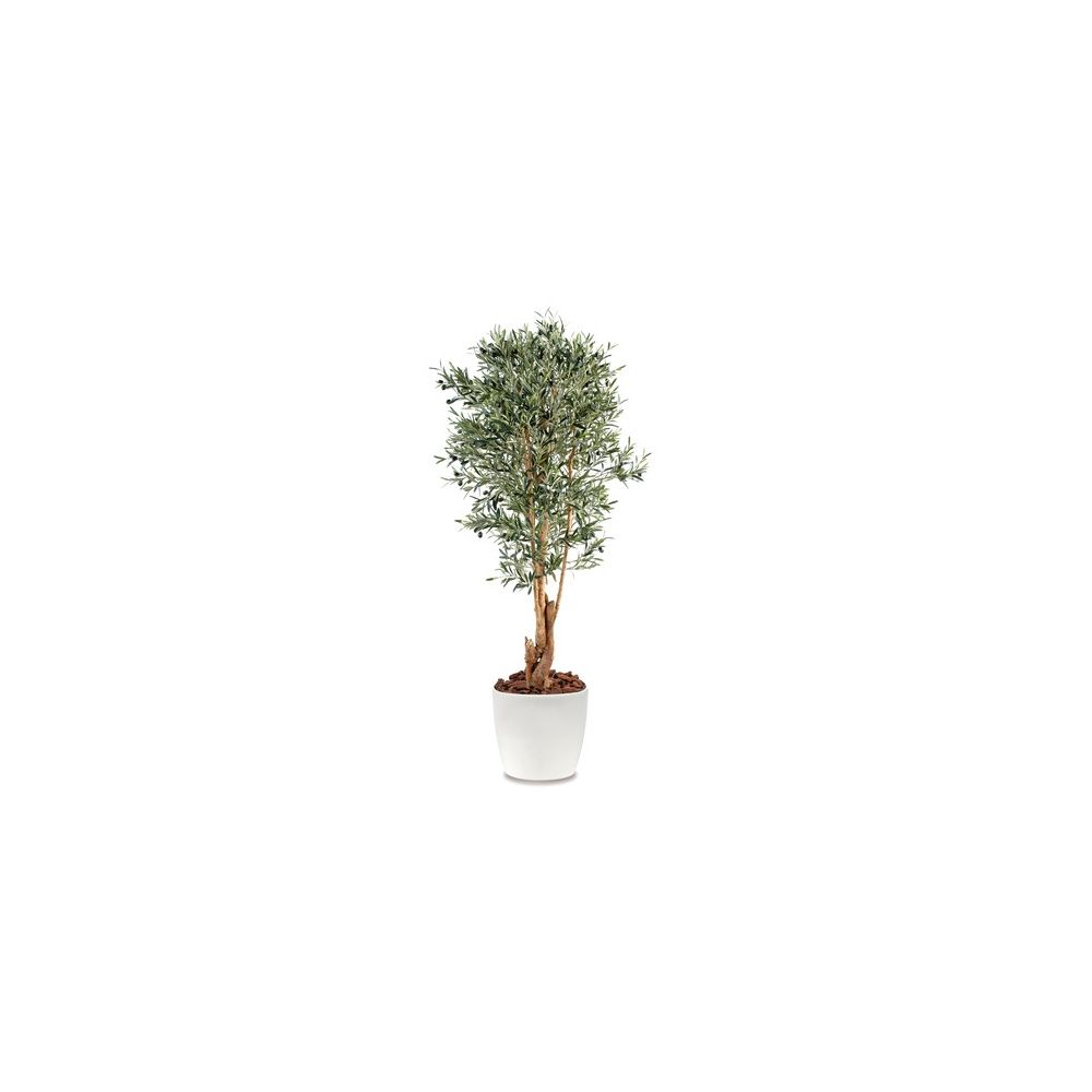 Olivier tronc noueux H150cm (tronc naturel, feuillage artificiel) pot elho blanc