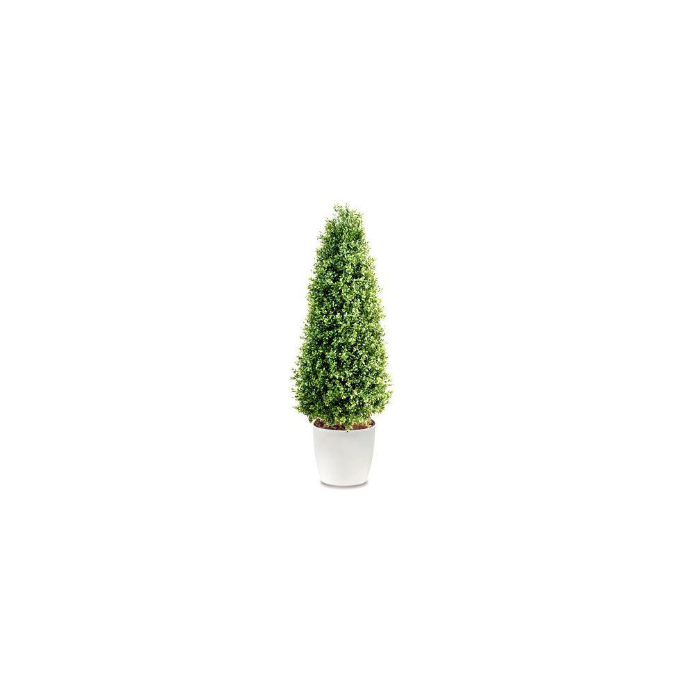 Buis cône H130cm (tronc naturel, feuillage artificiel) pot elho blanc