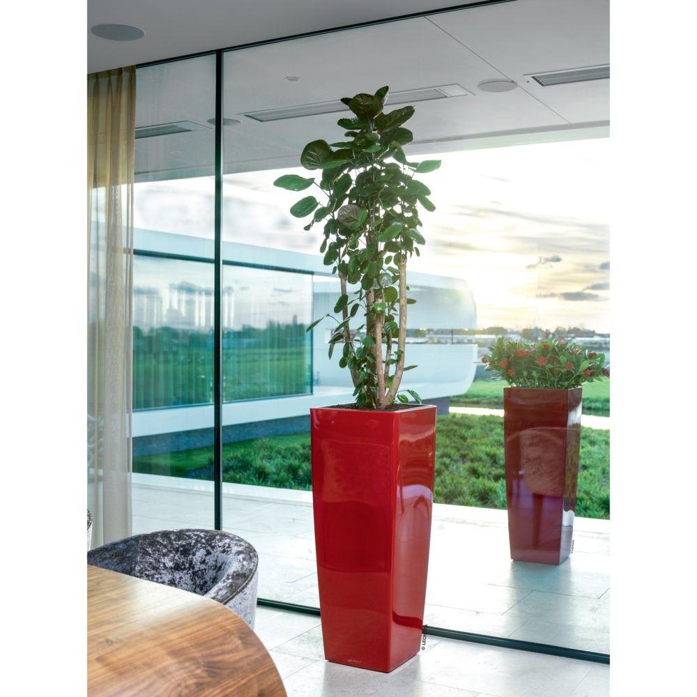 Pot Lechuza Cubico Alto Premium L40 H105 cm rouge laqué