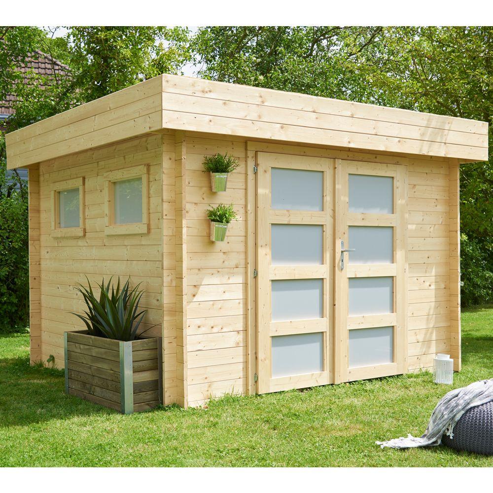 Abri de jardin bois 9.53 m² Ep. 28 mm toit plat Kivik Colis : L.332 ...