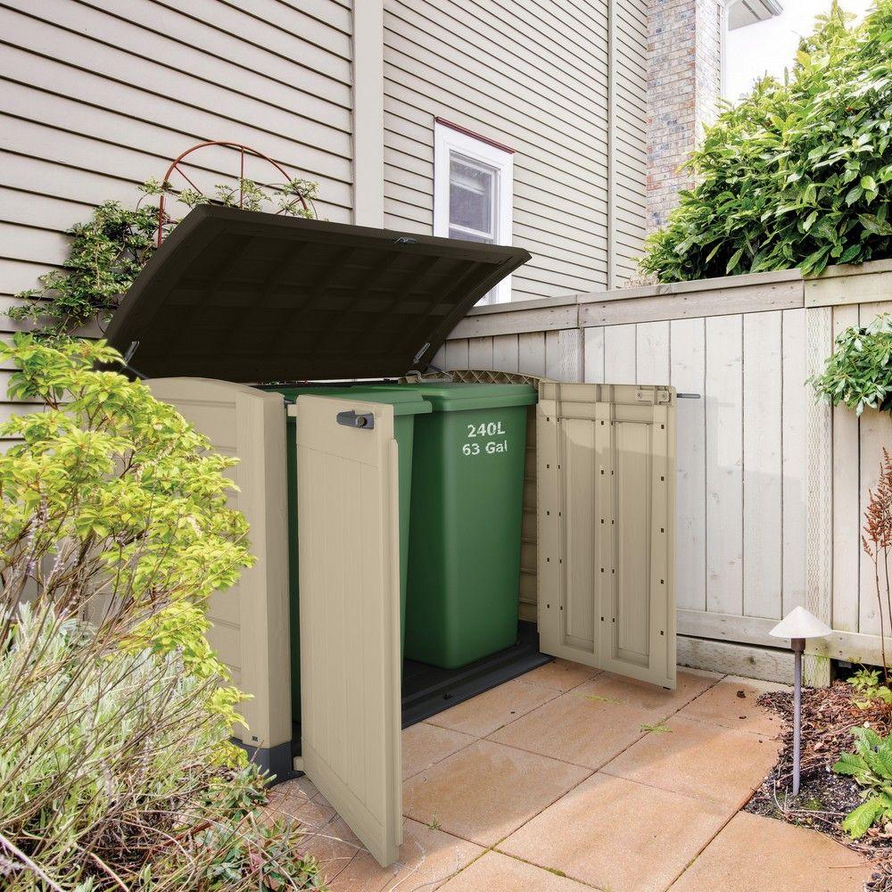 Coffre de jardin r sine arc 1200l beige colis x x gamm vert - Coffre de jardin resine ...