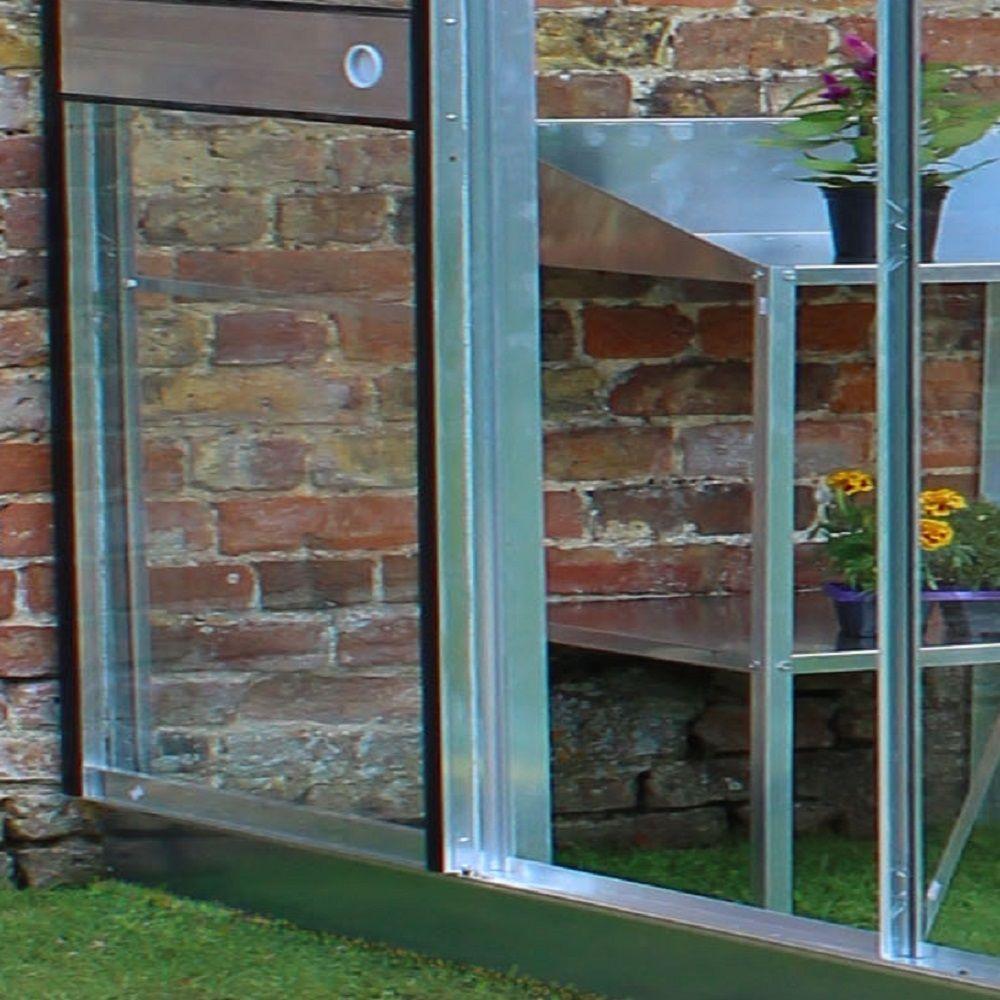 Serre de jardin adoss e silverline verre horticole 4 8 m hors tout aluminium halls palette - Serre de jardin en verre horticole ...