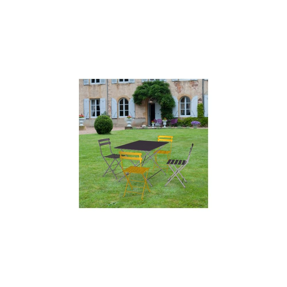 Salon de jardin Fermob Bistro : Table l117 L77 cm + 4 chaises - Gamm ...