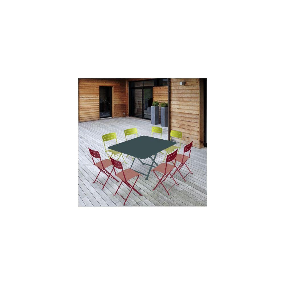 Salon de jardin Fermob : Table l128 L128 cm + 8 chaises Carton 157 ...