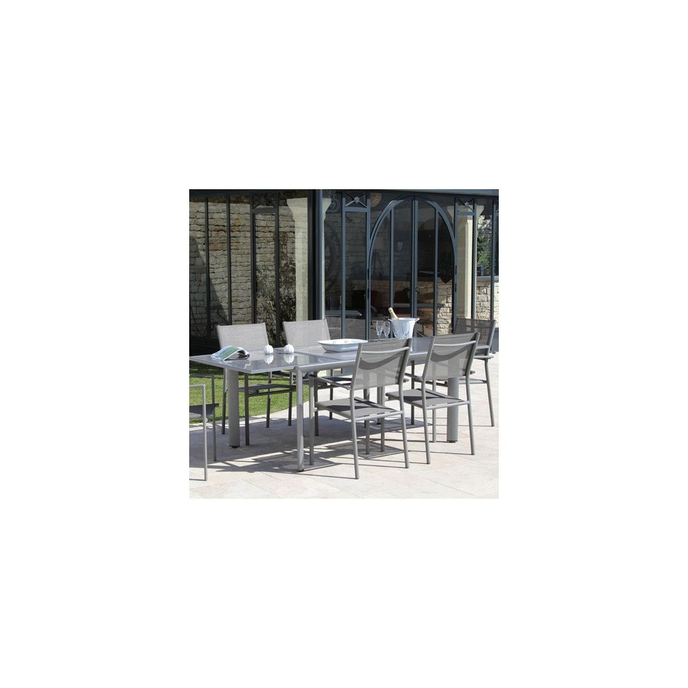 Salon de jardin taupe : Table Messina l160/230 L100 cm + 6 fauteuils ...