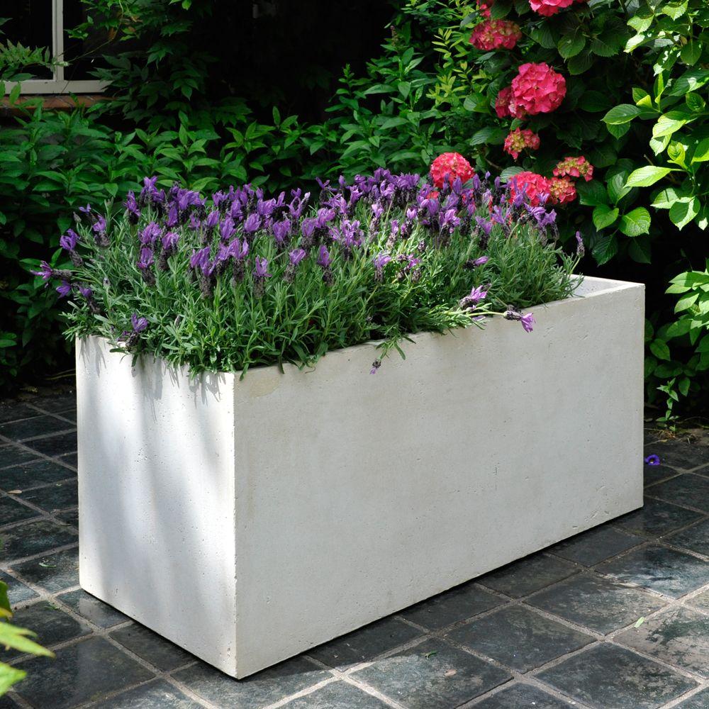 bac fleurs fibre de terre clayfibre l80 h40 cm blanc gamm vert. Black Bedroom Furniture Sets. Home Design Ideas