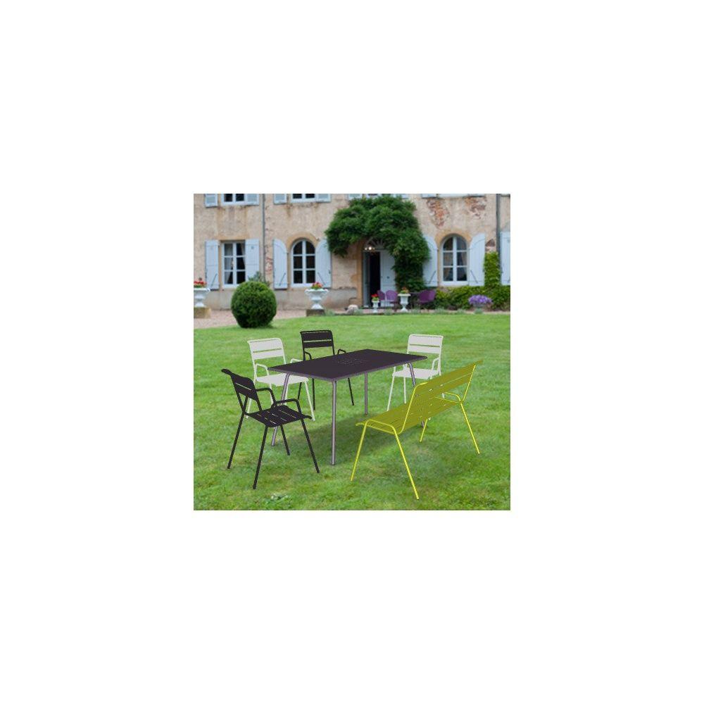 salon de jardin fermob monceau table l146 l80cm 4 chaises 1 banc 1 carton 95 5 x 23 4 x. Black Bedroom Furniture Sets. Home Design Ideas