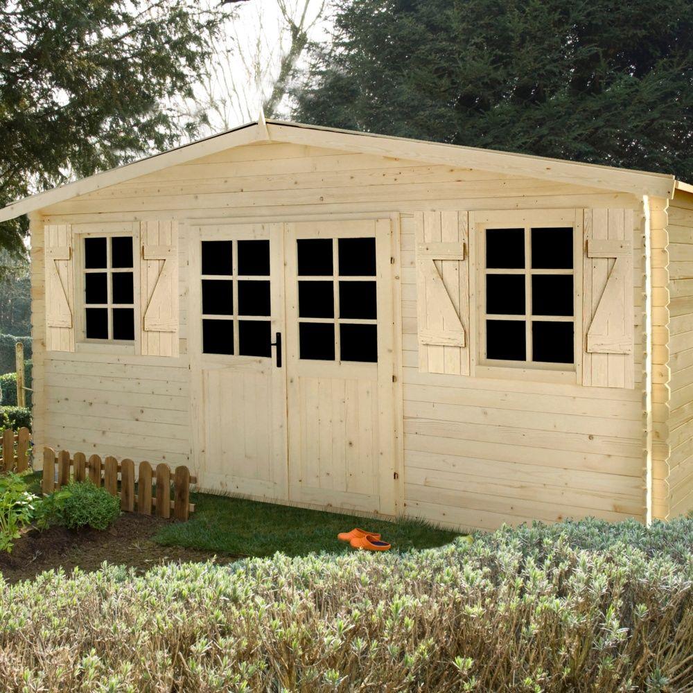 abri de jardin bois 20 58 m mm louvie colis x x cm gamm vert. Black Bedroom Furniture Sets. Home Design Ideas