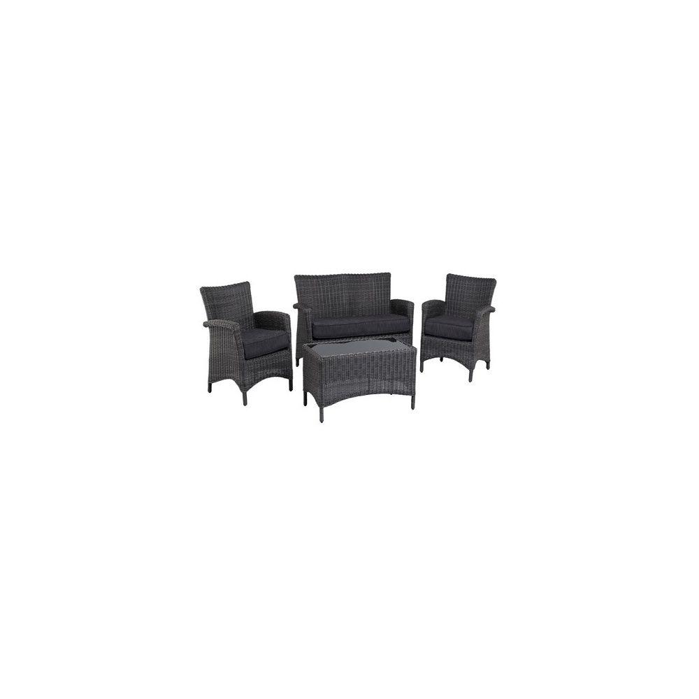 Salon de jardin tressé LAKENA : Sofa + 2 fauteuils + 1 table plateau ...