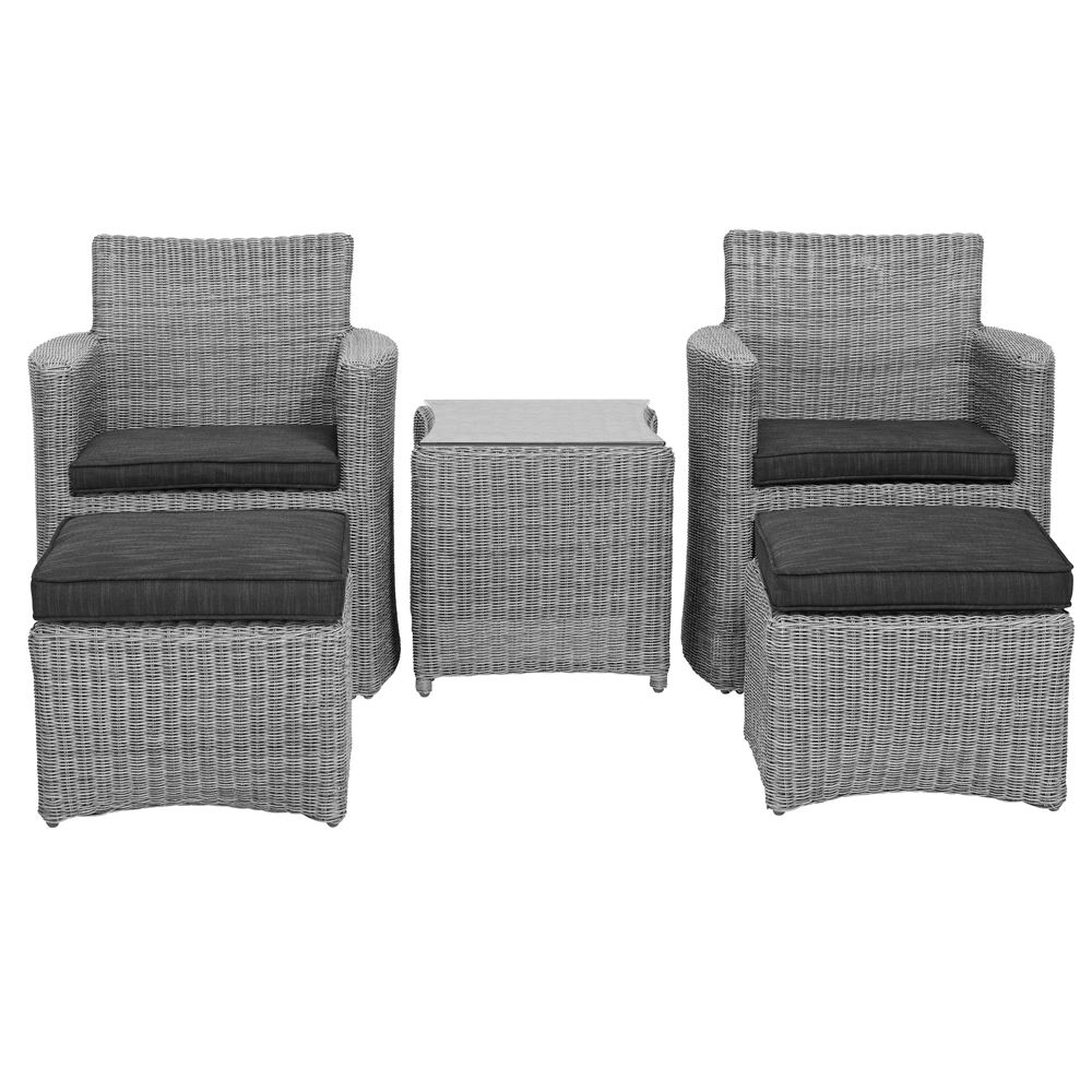 Salon de jardin résine Cupido blanc lavé : 2 fauteuils + table 1 ...