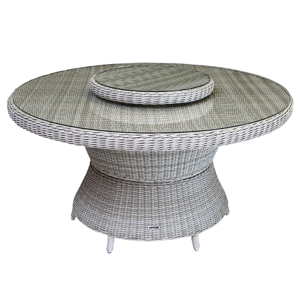 Table de jardin Barcelona Kettler résine Ø144 cm sable/gris