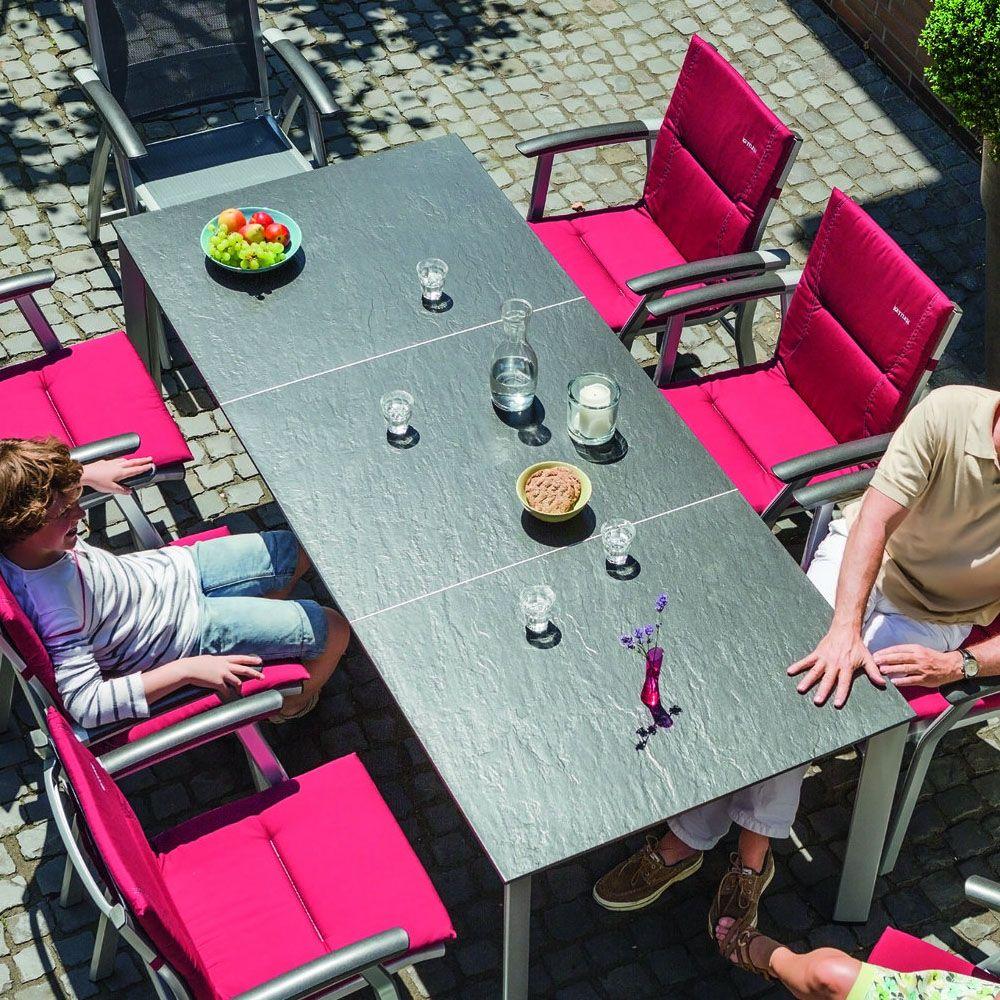 Table de jardin Kettler Loft effet ardoise L159/219 l94 cm argent ...