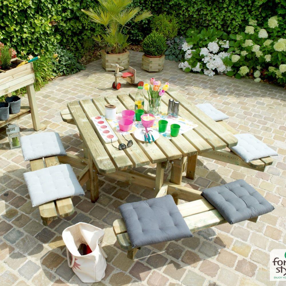 Table de pique-nique Octave bois traité L120 x l120 cm Carton ...