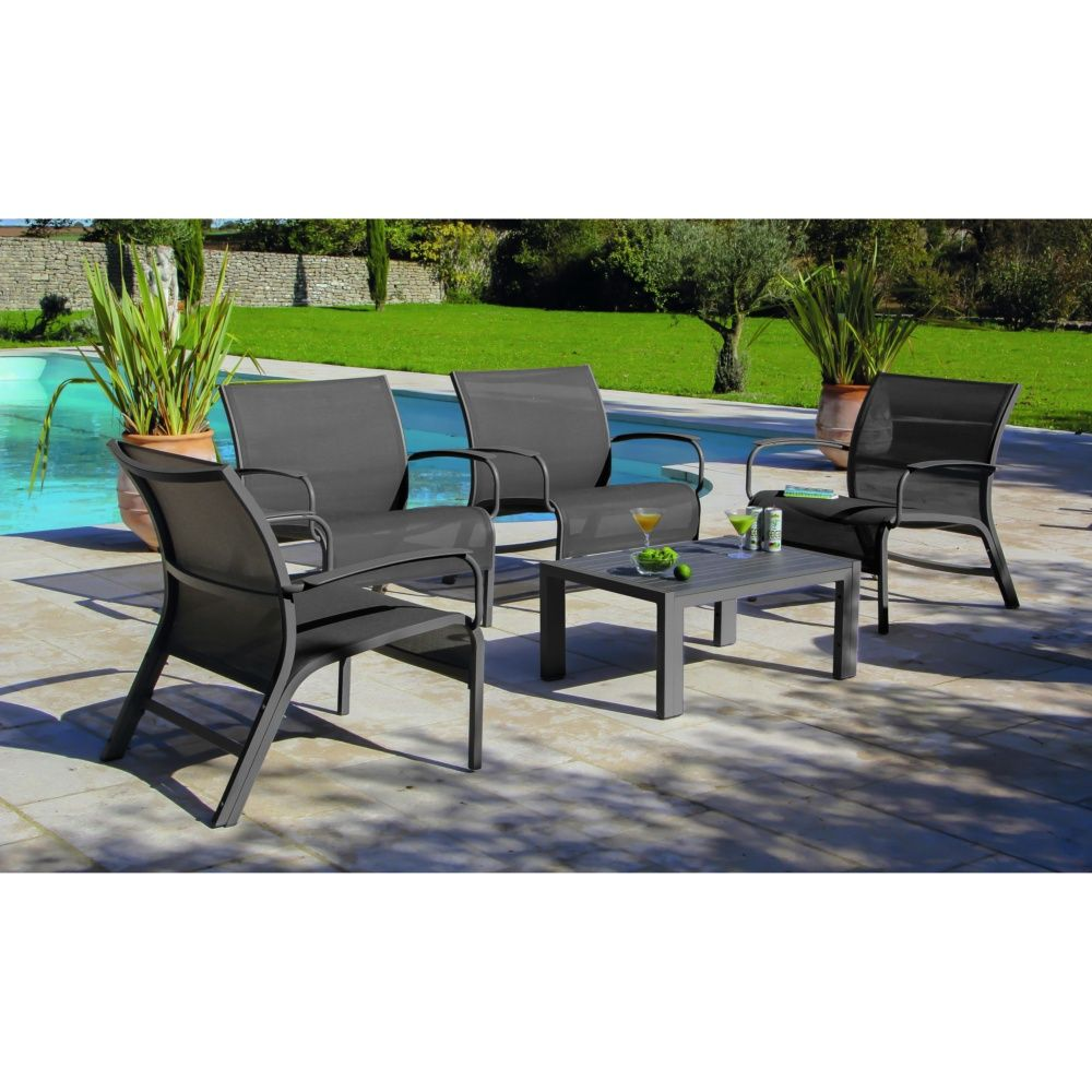 salon de jardin lounge linea table basse 4 fauteuils aluminium textil ne gris gamm vert. Black Bedroom Furniture Sets. Home Design Ideas