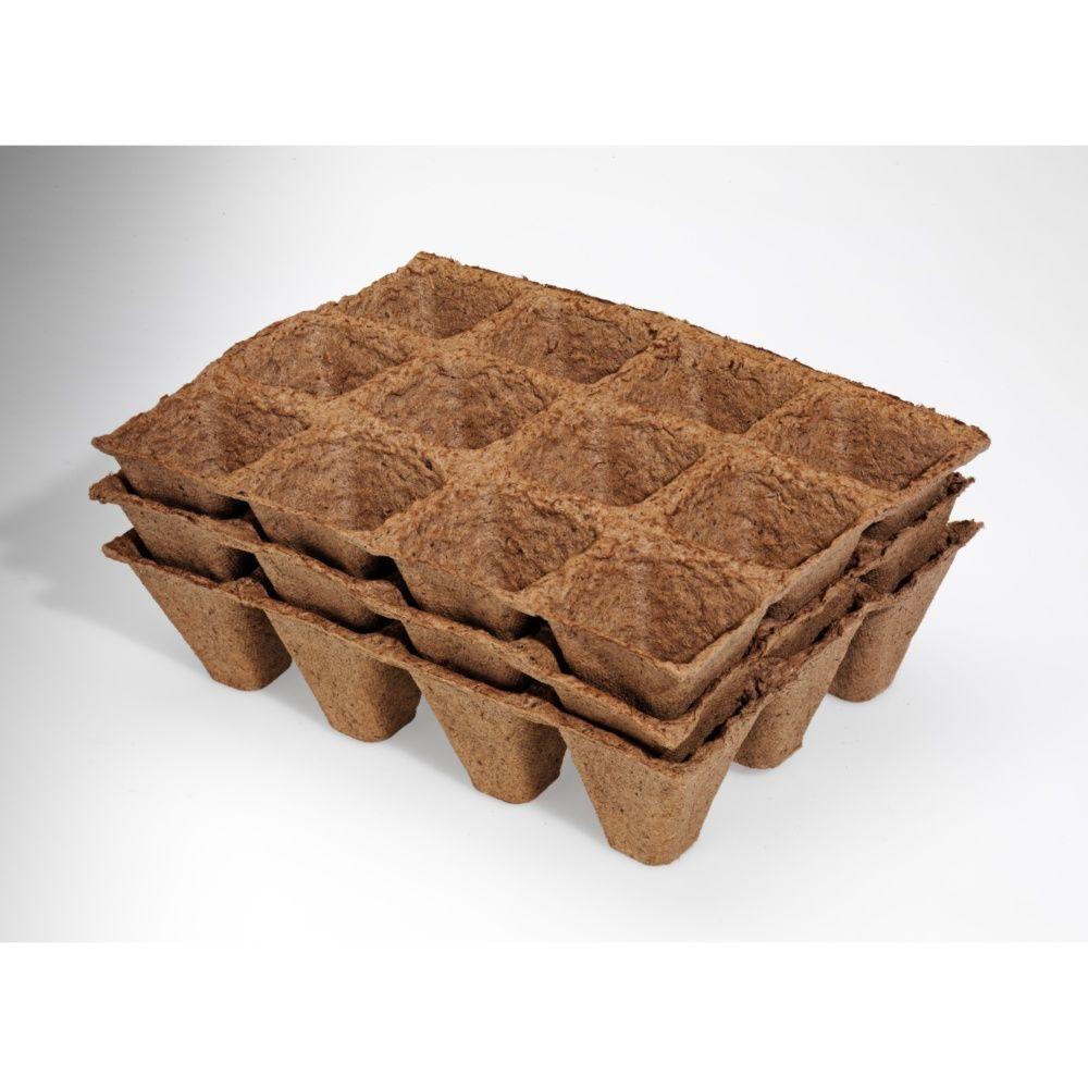 3 plaques de 12 pots biodégradables carré 5 cm – Gamm vert
