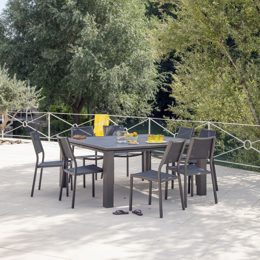 Salon de jardin : Table Fiero l160 L160 cm + 4 chaises Florence brun ...