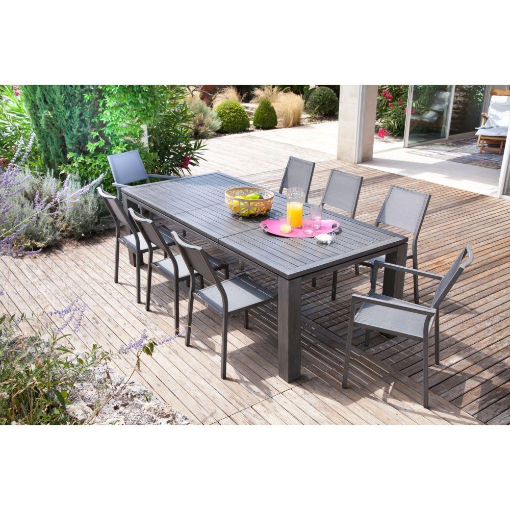Salon de jardin : table Fiero 200 argent + 4 chaises et 2 fauteuils ...