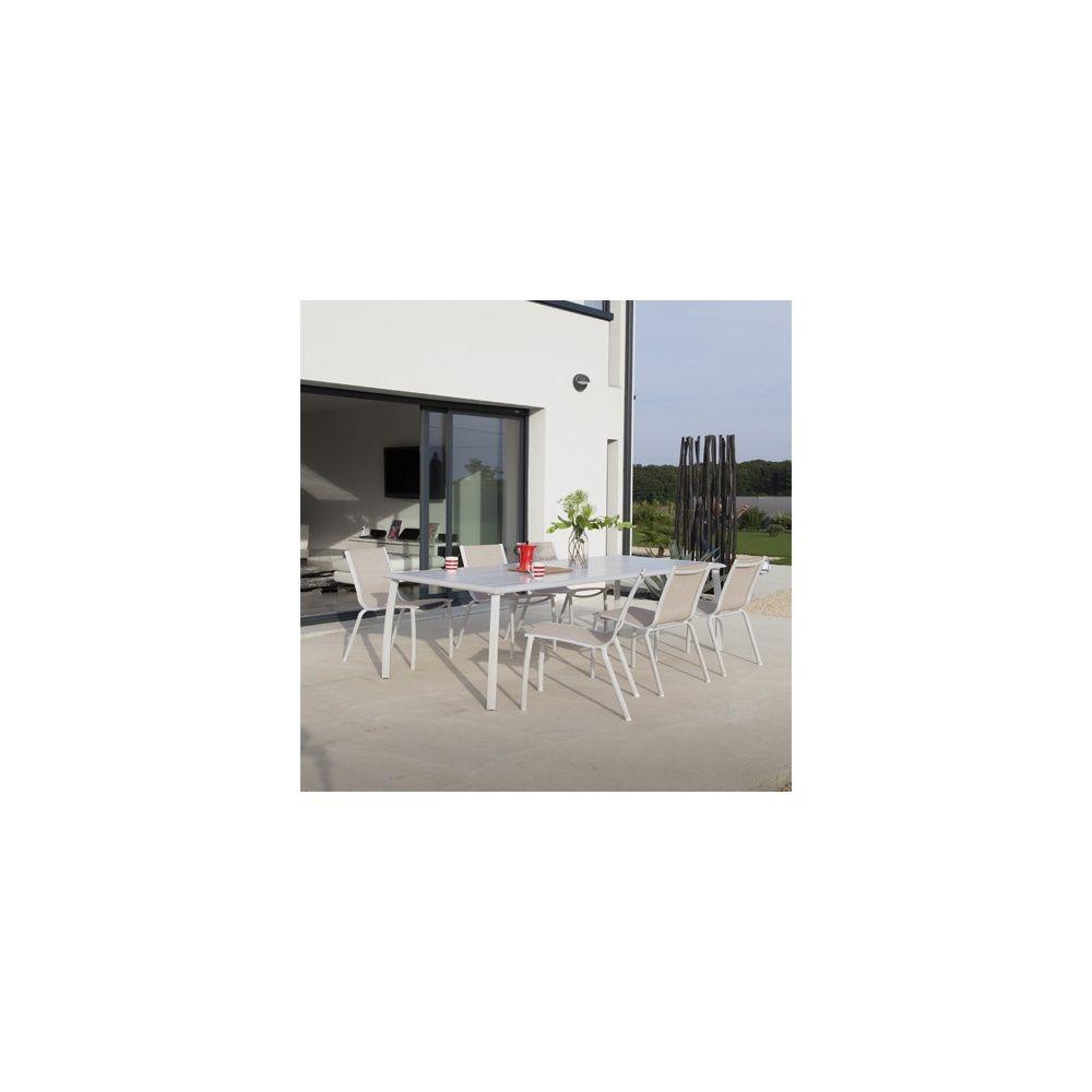 Lot de 2 Chaises empilables Linea aluminium/textilène lin
