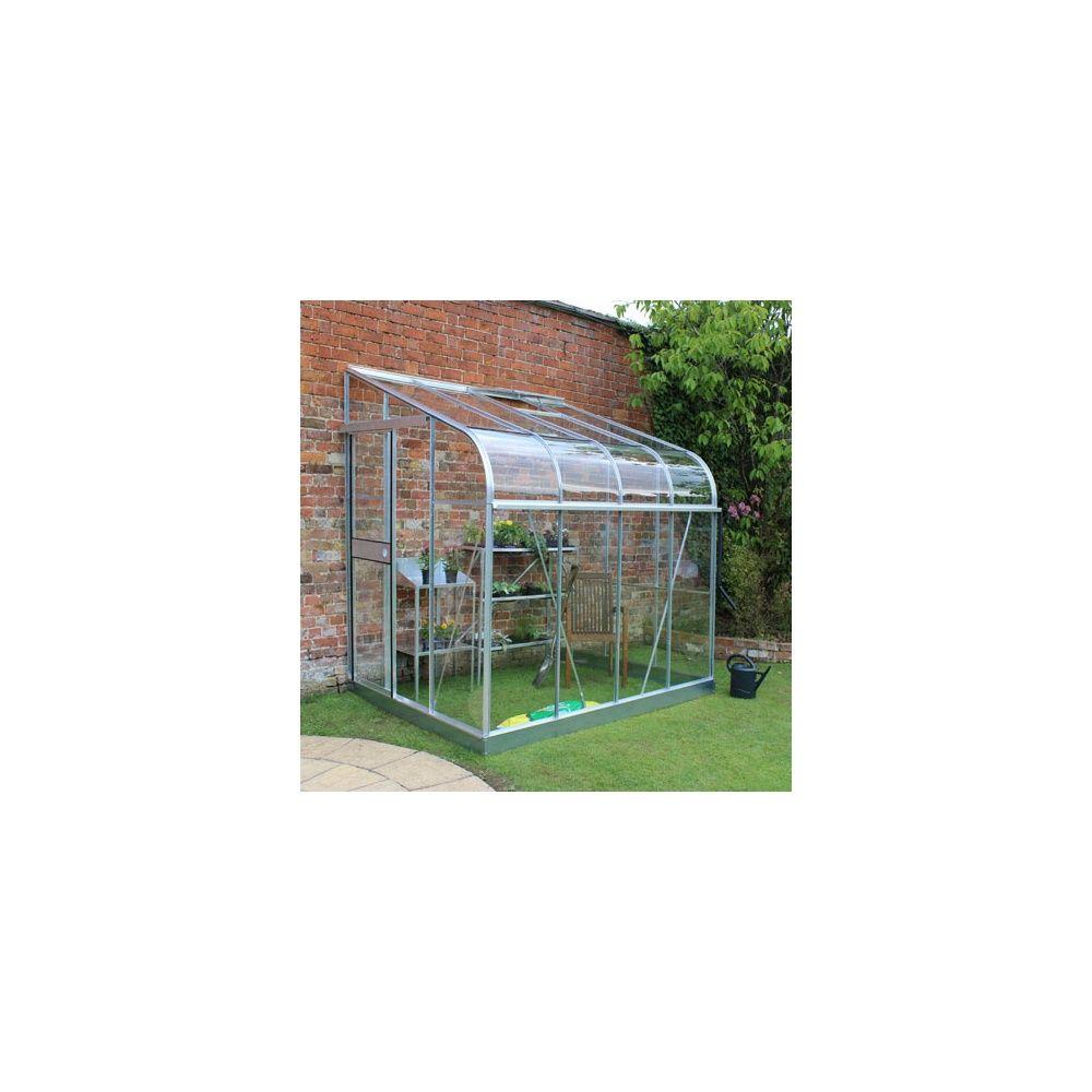 Serre de jardin adossée Silverline verre horticole 9.9 m² aluminium ...
