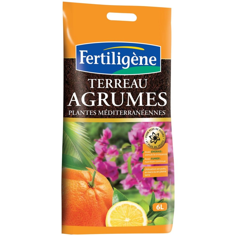 Terreau Agrumes et plantes méditerrannéennes  6L – Fertiligène
