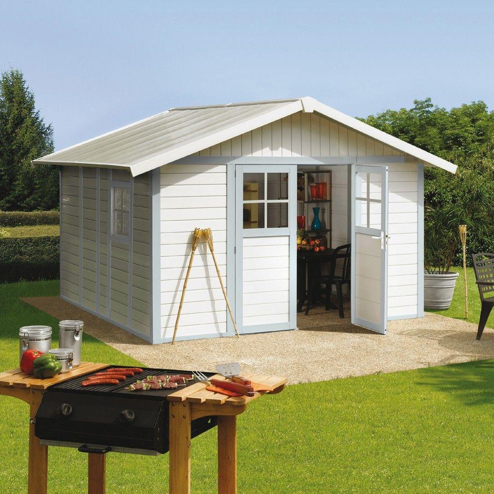 Abri de jardin résine Grosfillex 11,2 m² Ep. 26 mm Deco gris/bleu ...