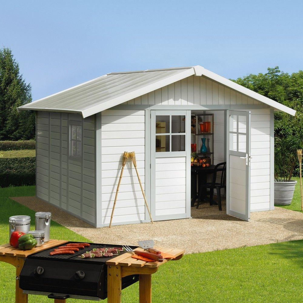 Abri de jardin résine Grosfillex 11,2 m2 Ep. 26 mm Deco gris/vert