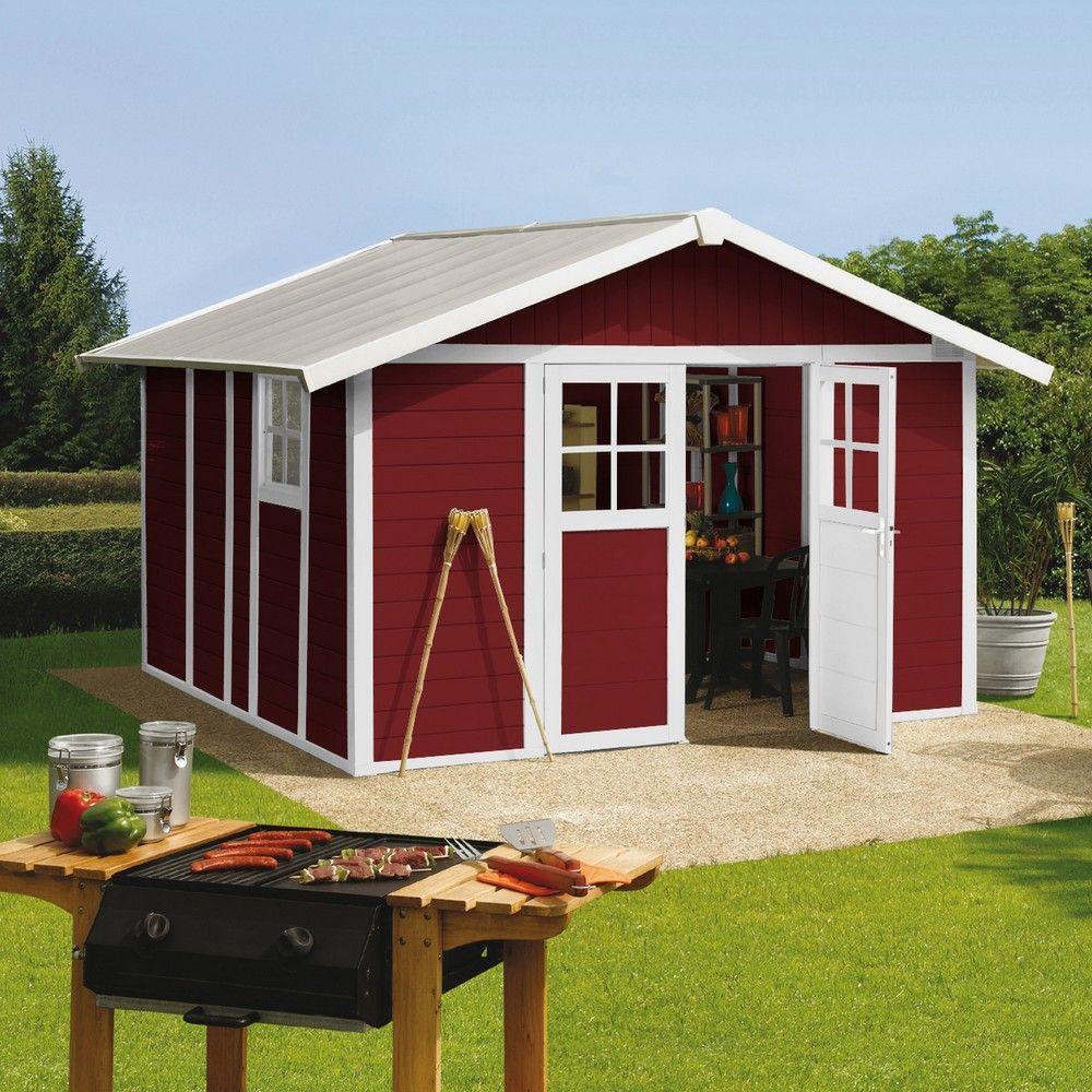 abri de jardin r sine grosfillex 11 2 m ep 26 mm deco rouge colis l 100 x l 120 x h 222 cm. Black Bedroom Furniture Sets. Home Design Ideas