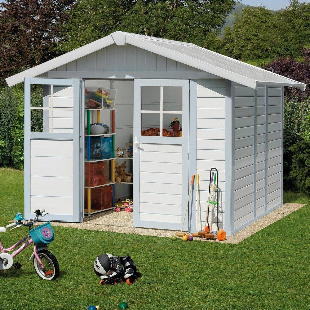 Abri de jardin résine Grosfillex 4,90 m² Ep. 26 mm Deco gris/bleu ...