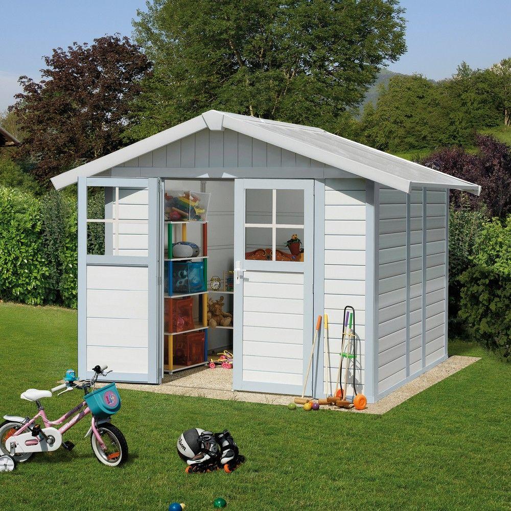 abri de jardin r sine grosfillex 4 90 m ep 26 mm deco gris bleu colis l 80 x l 120 x h 207. Black Bedroom Furniture Sets. Home Design Ideas