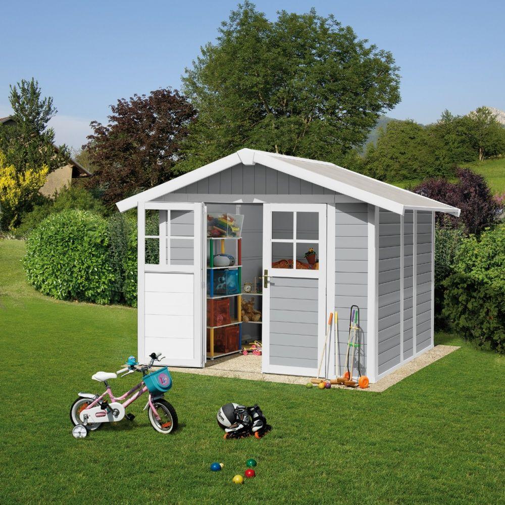 abri de jardin r sine grosfillex 4 90 m ep 26 mm deco gris clair colis l 80 x l 120 x h 207. Black Bedroom Furniture Sets. Home Design Ideas