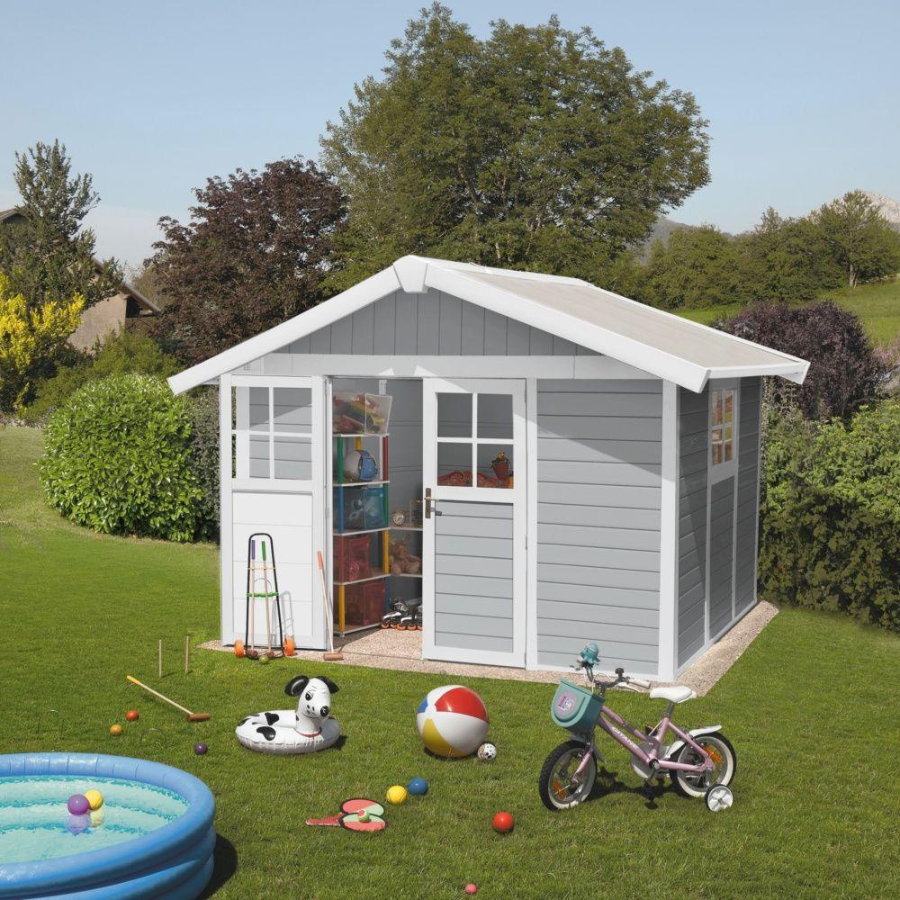 Abri de jardin résine Grosfillex 11.02 m² Ep. 26 mm Deco gris ...